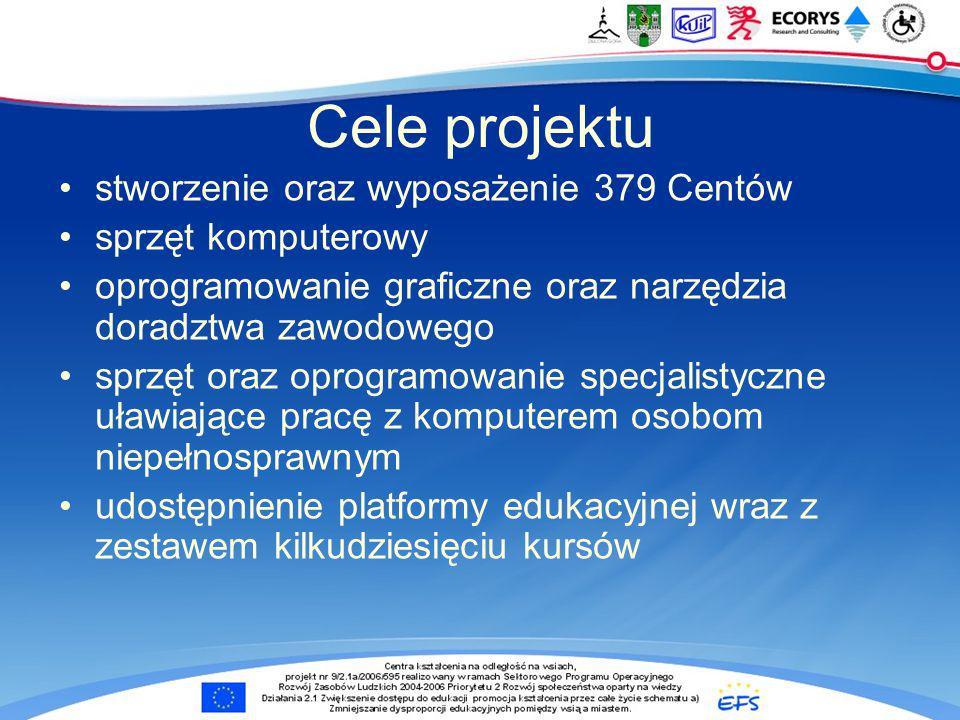 przeszkolenie oraz przygotowanie do prowadzania Centrów 379 opiekunów pilotażowe zatrudnienie opiekunów wypromowanie Centrów w skali ogólnopolskiej oraz lokalnej uruchomienie i nadzorowanie pracy Centrów w okresie pilotażowym utrwalenie działania sieci Centrów