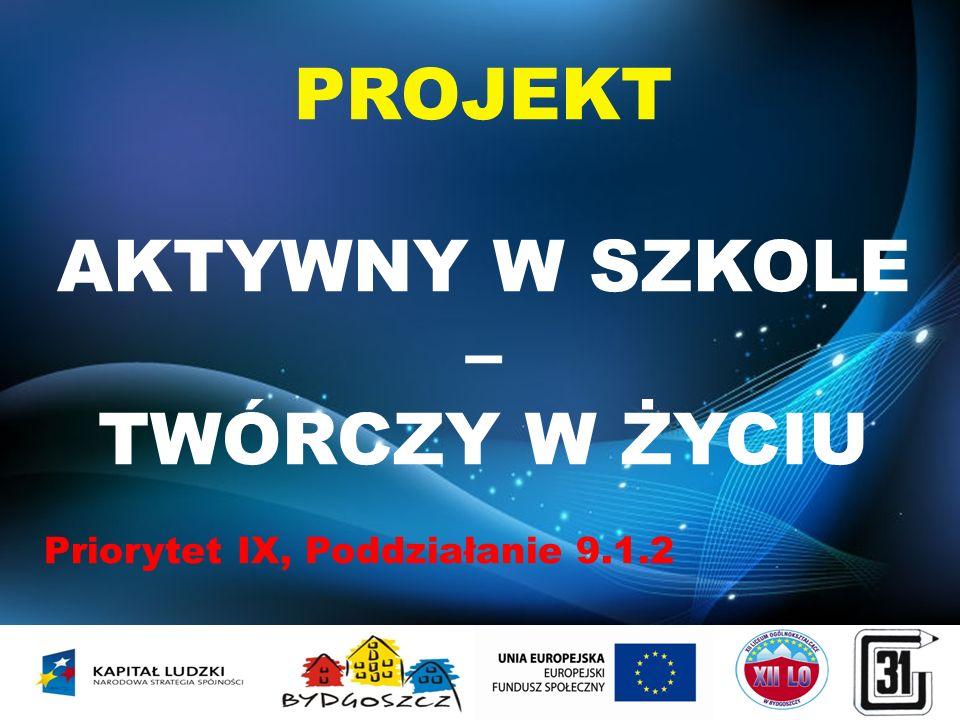 PROJEKT AKTYWNY W SZKOLE – TWÓRCZY W ŻYCIU Priorytet IX, Poddziałanie 9.1.2