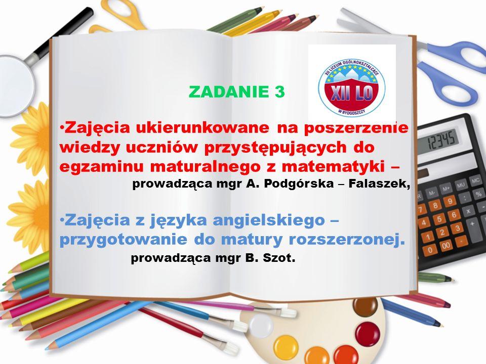 ZADANIE 3 Zajęcia ukierunkowane na poszerzenie wiedzy uczniów przystępujących do egzaminu maturalnego z matematyki – prowadząca mgr A. Podgórska – Fal