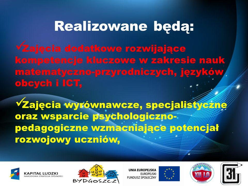 Realizowane będą: Zajęcia dodatkowe rozwijające kompetencje kluczowe w zakresie nauk matematyczno-przyrodniczych, języków obcych i ICT, Zajęcia wyrówn