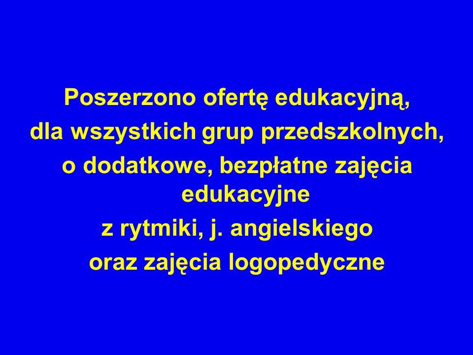 Poszerzono ofertę edukacyjną, dla wszystkich grup przedszkolnych, o dodatkowe, bezpłatne zajęcia edukacyjne z rytmiki, j. angielskiego oraz zajęcia lo