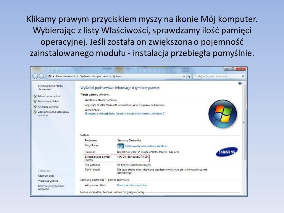 Klikamy prawym przyciskiem myszy na ikonie Mój komputer.