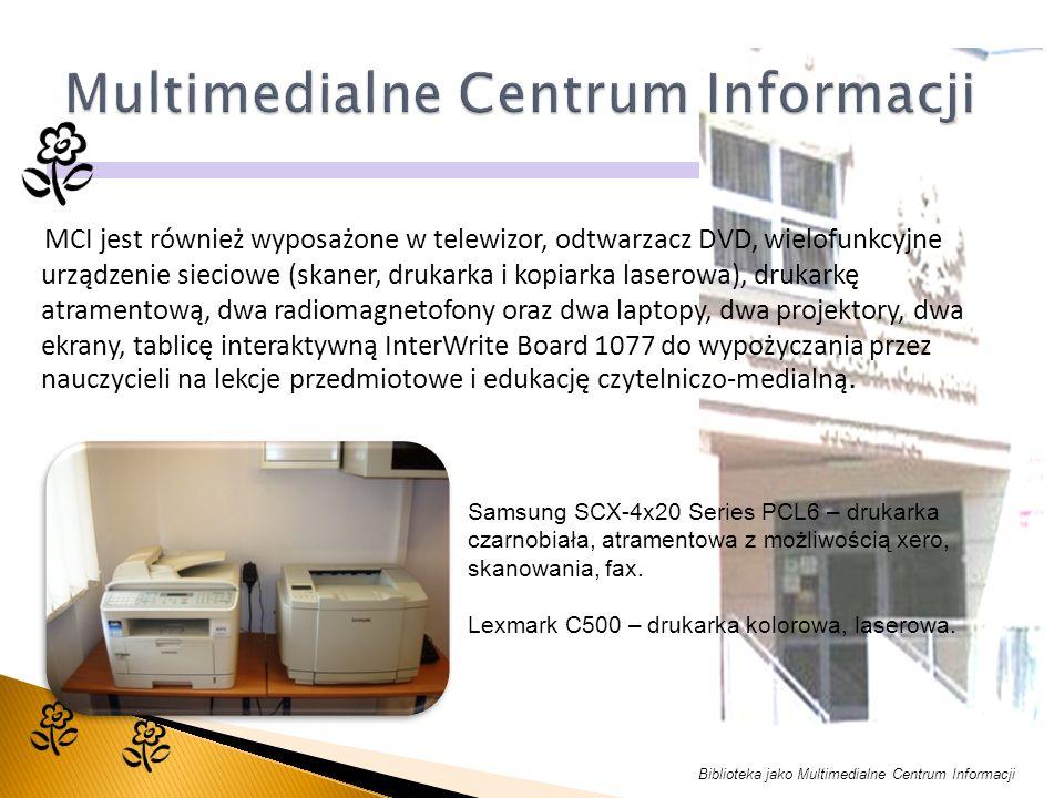 MCI jest również wyposażone w telewizor, odtwarzacz DVD, wielofunkcyjne urządzenie sieciowe (skaner, drukarka i kopiarka laserowa), drukarkę atramentową, dwa radiomagnetofony oraz dwa laptopy, dwa projektory, dwa ekrany, tablicę interaktywną InterWrite Board 1077 do wypożyczania przez nauczycieli na lekcje przedmiotowe i edukację czytelniczo-medialną.