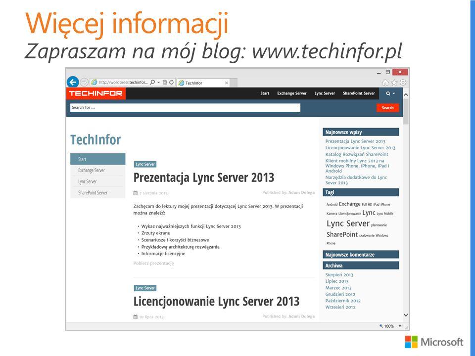 Zapraszam na mój blog: www.techinfor.pl
