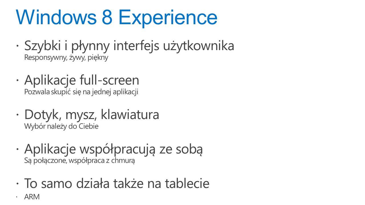 Windows 8 Experience Szybki i płynny interfejs użytkownika Responsywny, żywy, piękny Aplikacje full-screen Pozwala skupić się na jednej aplikacji Dotyk, mysz, klawiatura Wybór należy do Ciebie Aplikacje współpracują ze sobą Są połączone, współpraca z chmurą To samo działa także na tablecie ARM