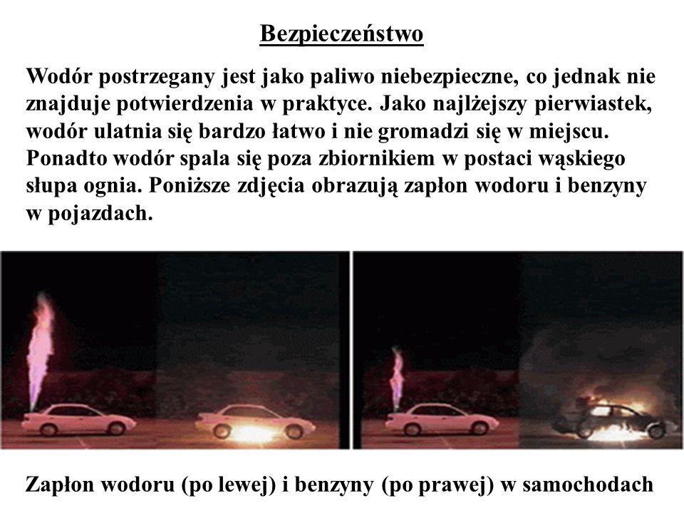 Zapłon wodoru (po lewej) i benzyny (po prawej) w samochodach Bezpieczeństwo Wodór postrzegany jest jako paliwo niebezpieczne, co jednak nie znajduje p
