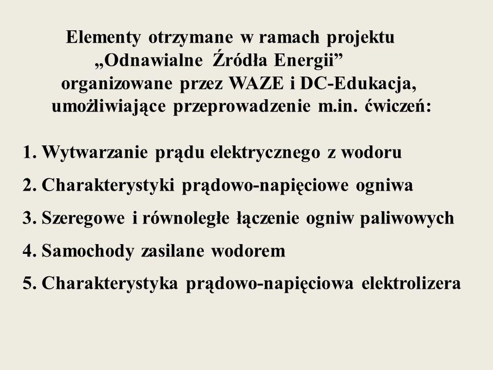 Elementy otrzymane w ramach projektu Odnawialne Źródła Energii organizowane przez WAZE i DC-Edukacja, umożliwiające przeprowadzenie m.in.
