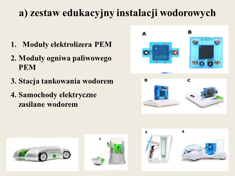 a) zestaw edukacyjny instalacji wodorowych 1.Moduły elektrolizera PEM 2. Moduły ogniwa paliwowego PEM 3. Stacja tankowania wodorem 4. Samochody elektr