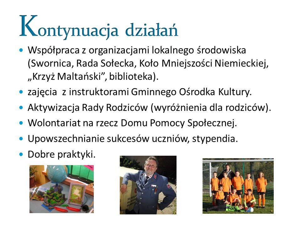 Współpraca z organizacjami lokalnego środowiska (Swornica, Rada Sołecka, Koło Mniejszości Niemieckiej, Krzyż Maltański, biblioteka).