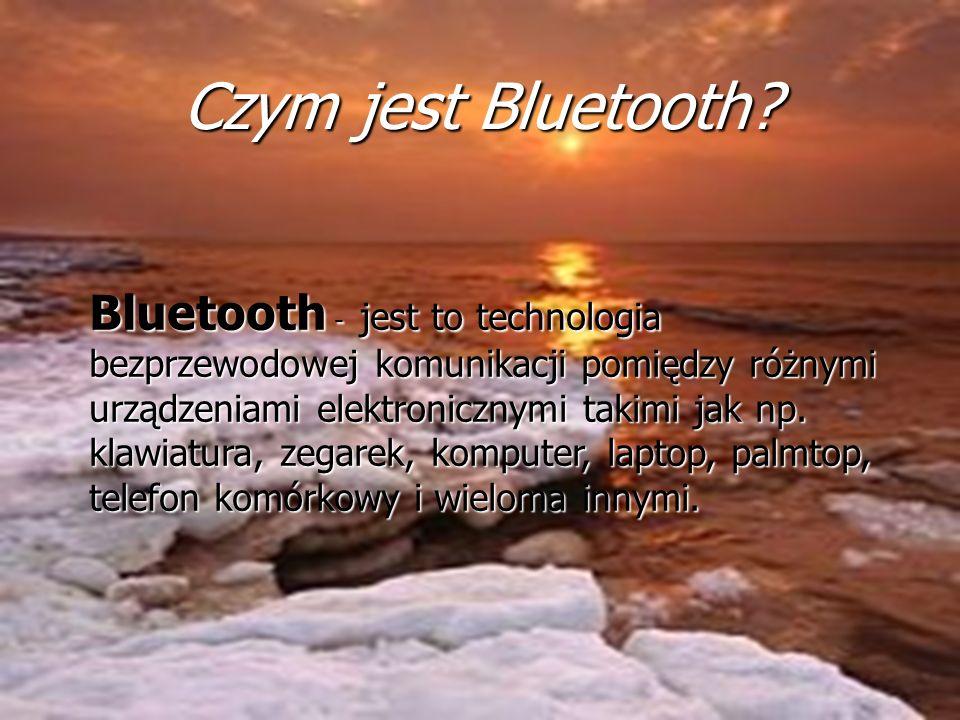 2,45 GHz - częstotliwość (czyli od 2,40 do 2,48 GHz) 10 m - zasięg (w praktyce do 200m) 1600 razy na sekundę Bluetooth może się przełączać między 79 kanałami 726 Kb/s - Maksymalna szybkość transmisji 317 milionów chipów z technologią Bluetooth sprzedano w 2005 roku