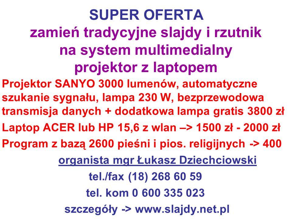 SUPER OFERTA zamień tradycyjne slajdy i rzutnik na system multimedialny projektor z laptopem Projektor SANYO 3000 lumenów, automatyczne szukanie sygna