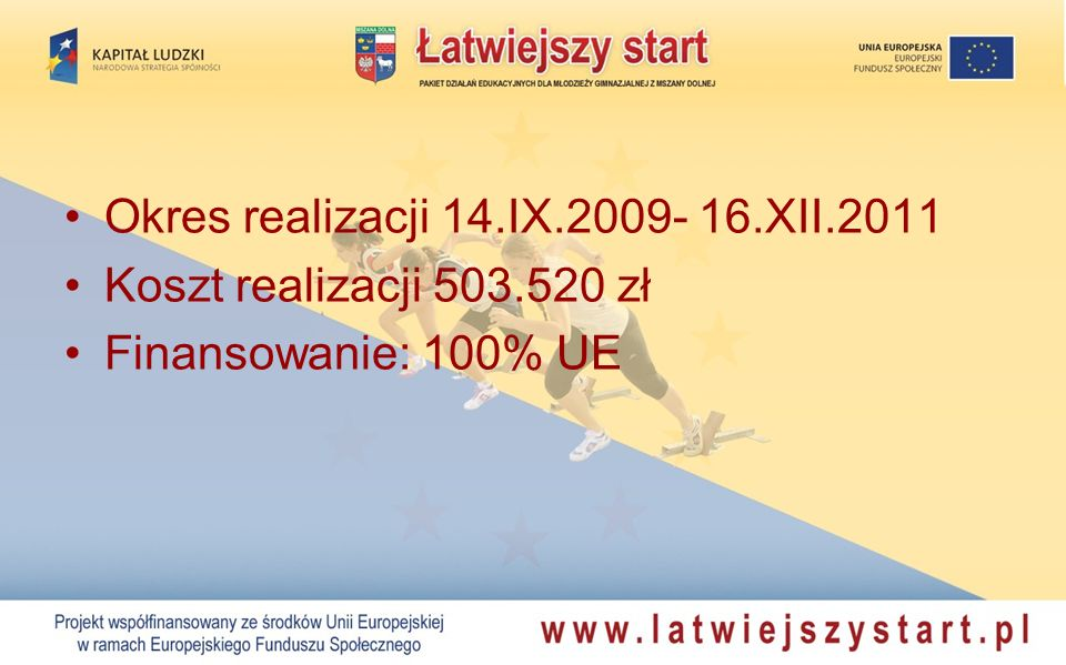 Okres realizacji 14.IX.2009- 16.XII.2011 Koszt realizacji 503.520 zł Finansowanie: 100% UE