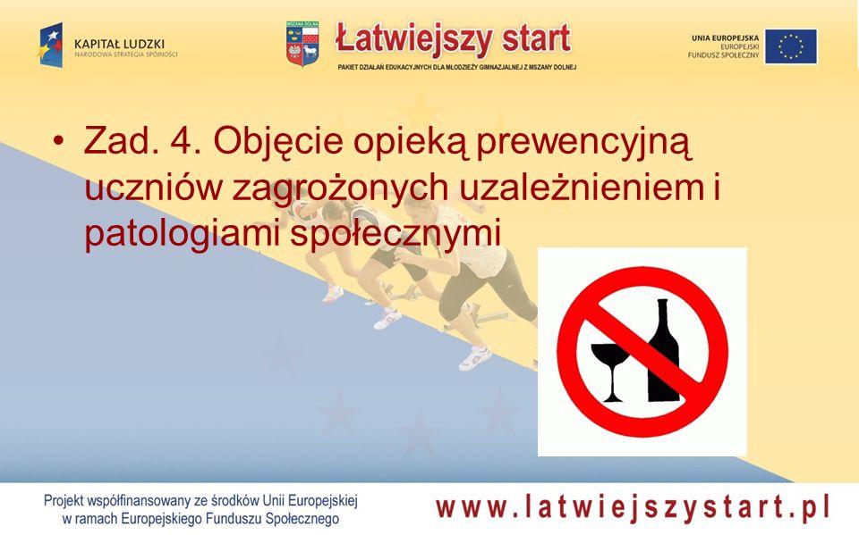 Zad. 4. Objęcie opieką prewencyjną uczniów zagrożonych uzależnieniem i patologiami społecznymi