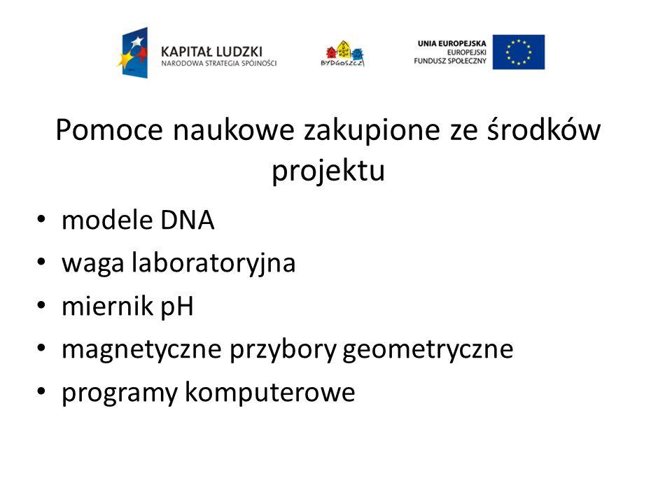 modele DNA waga laboratoryjna miernik pH magnetyczne przybory geometryczne programy komputerowe Pomoce naukowe zakupione ze środków projektu