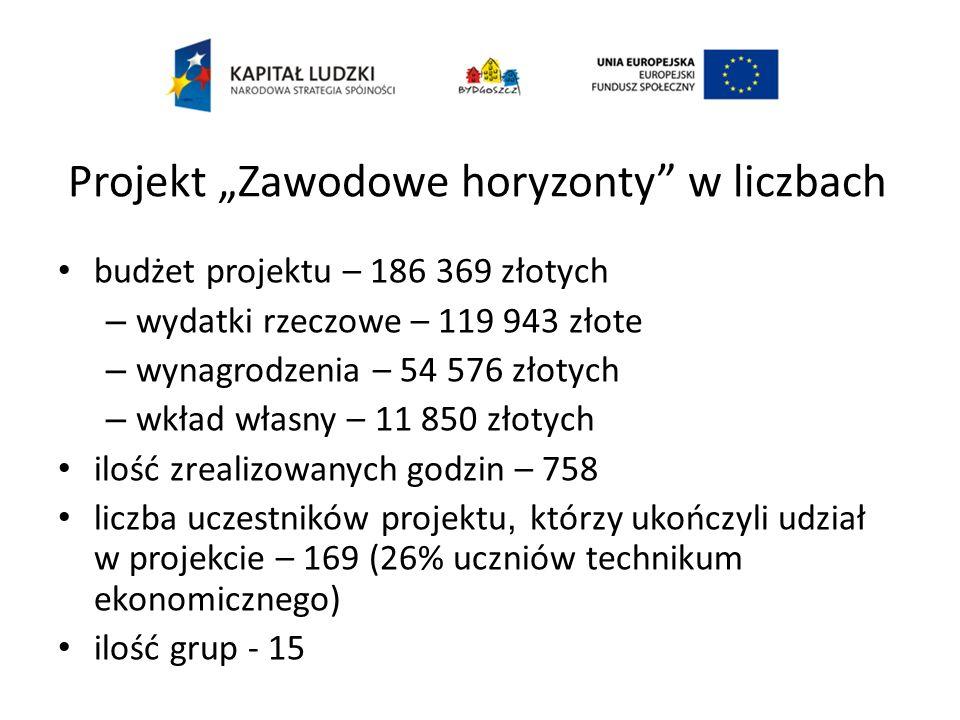 Projekt Zawodowe horyzonty w liczbach budżet projektu – 186 369 złotych – wydatki rzeczowe – 119 943 złote – wynagrodzenia – 54 576 złotych – wkład wł
