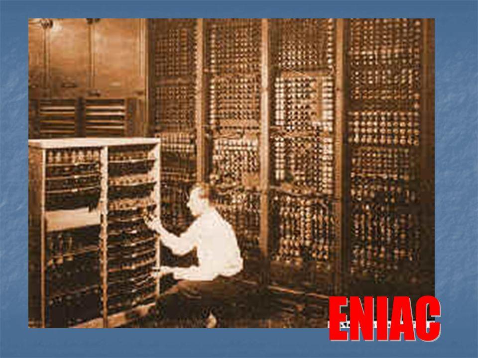 ENIAC – posiadał wyłącznie elementy elektroniczne (lampy elektronowe) –1946r. Wymiary: 15m na 9m; Maszyna ta zajmowała powierzchnię 140m2, zbudowana b