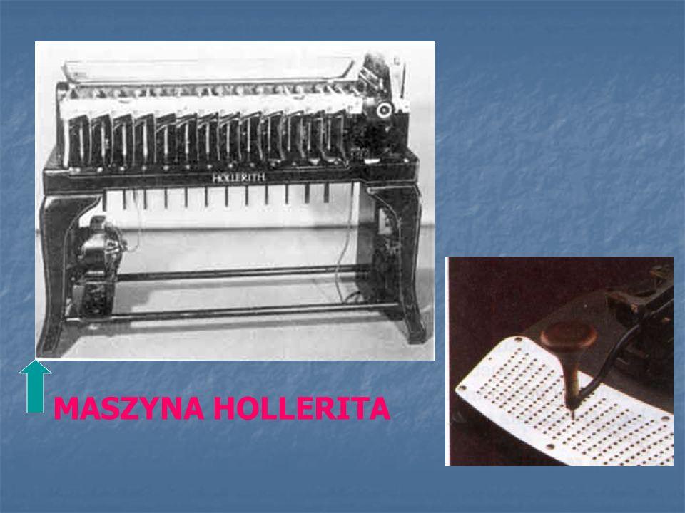 W XIX wieku Amerykanin Hollerith wynalazł maszynę analityczno – liczącą. Amerykanin Hollerith wynalazł maszynę analityczno – liczącą.