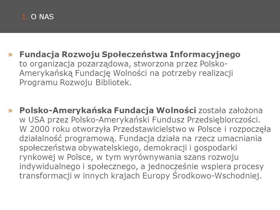 1. O NAS »Fundacja Rozwoju Społeczeństwa Informacyjnego to organizacja pozarządowa, stworzona przez Polsko- Amerykańską Fundację Wolności na potrzeby