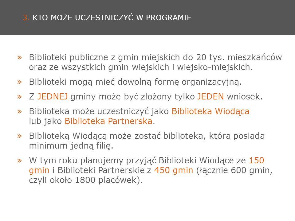 3. KTO MOŻE UCZESTNICZYĆ W PROGRAMIE »Biblioteki publiczne z gmin miejskich do 20 tys.