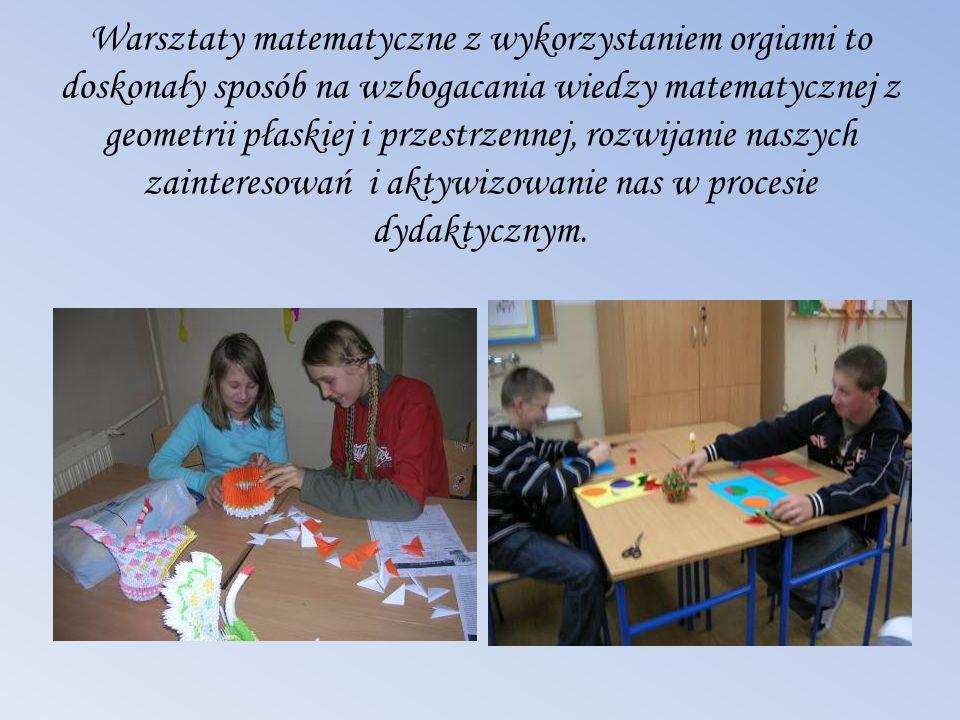 Warsztaty matematyczne z wykorzystaniem orgiami to doskonały sposób na wzbogacania wiedzy matematycznej z geometrii płaskiej i przestrzennej, rozwijan