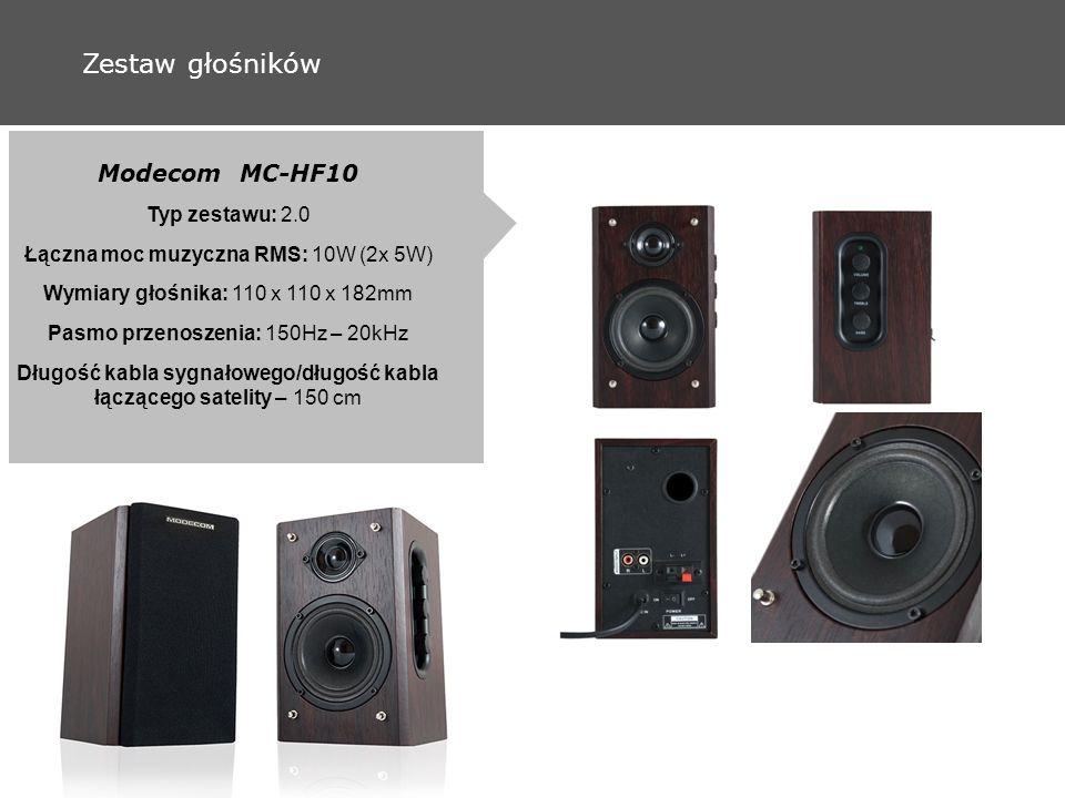 Zestaw głośników Modecom MC-HF10 Typ zestawu: 2.0 Łączna moc muzyczna RMS: 10W (2x 5W) Wymiary głośnika: 110 x 110 x 182mm Pasmo przenoszenia: 150Hz – 20kHz Długość kabla sygnałowego/długość kabla łączącego satelity – 150 cm