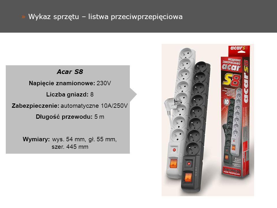 » Wykaz sprzętu – listwa przeciwprzepięciowa Acar S8 Napięcie znamionowe: 230V Liczba gniazd: 8 Zabezpieczenie: automatyczne 10A/250V Długość przewodu: 5 m Wymiary: wys.