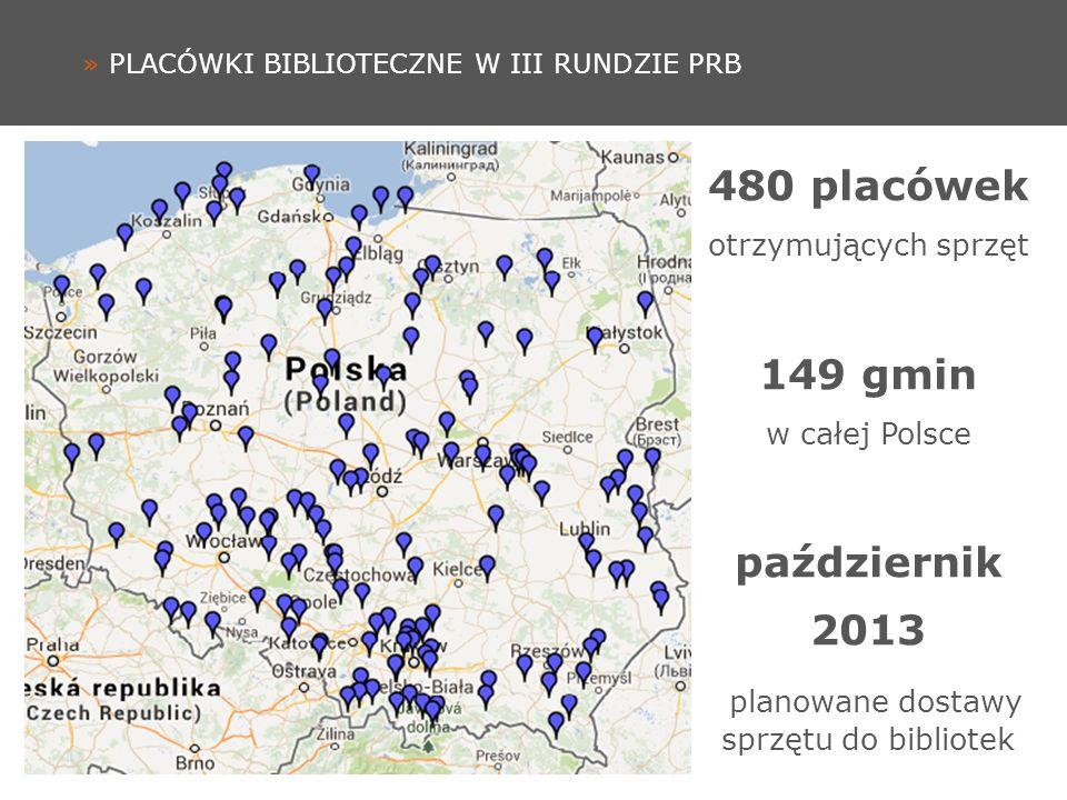 » PLACÓWKI BIBLIOTECZNE W III RUNDZIE PRB 480 placówek otrzymujących sprzęt 149 gmin w całej Polsce październik 2013 planowane dostawy sprzętu do bibliotek