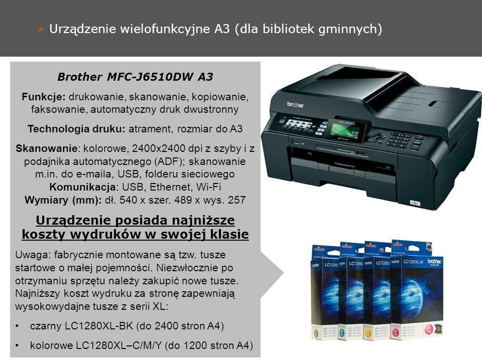 » Urządzenie wielofunkcyjne A3 (dla bibliotek gminnych) Brother MFC-J6510DW A3 Funkcje: drukowanie, skanowanie, kopiowanie, faksowanie, automatyczny druk dwustronny Technologia druku: atrament, rozmiar do A3 Skanowanie: kolorowe, 2400x2400 dpi z szyby i z podajnika automatycznego (ADF); skanowanie m.in.