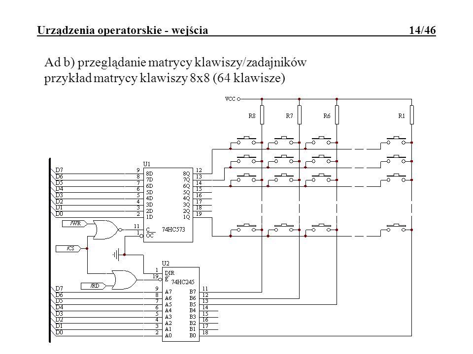 Urządzenia operatorskie - wejścia 14/46 Ad b) przeglądanie matrycy klawiszy/zadajników przykład matrycy klawiszy 8x8 (64 klawisze)