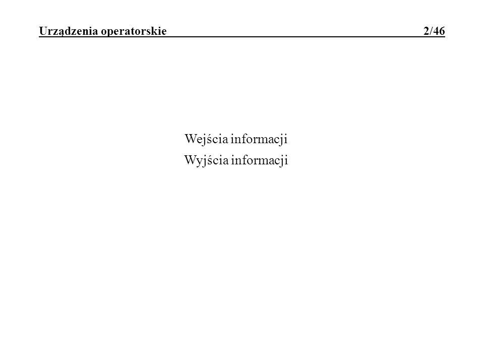 Urządzenia operatorskie 2/46 Wejścia informacji Wyjścia informacji