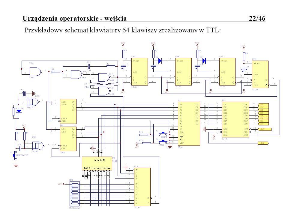 Urządzenia operatorskie - wejścia 22/46 Przykładowy schemat klawiatury 64 klawiszy zrealizowany w TTL: