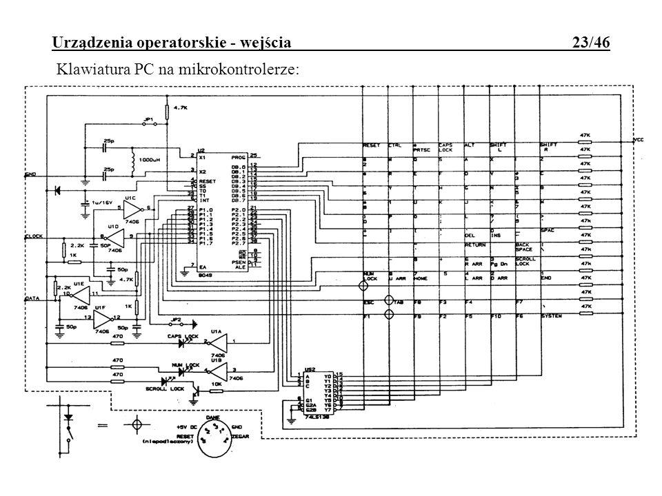 Urządzenia operatorskie - wejścia 23/46 Klawiatura PC na mikrokontrolerze: