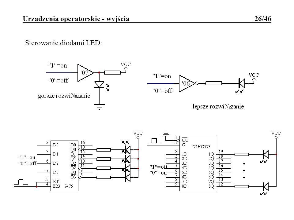 Urządzenia operatorskie - wyjścia 26/46 Sterowanie diodami LED: