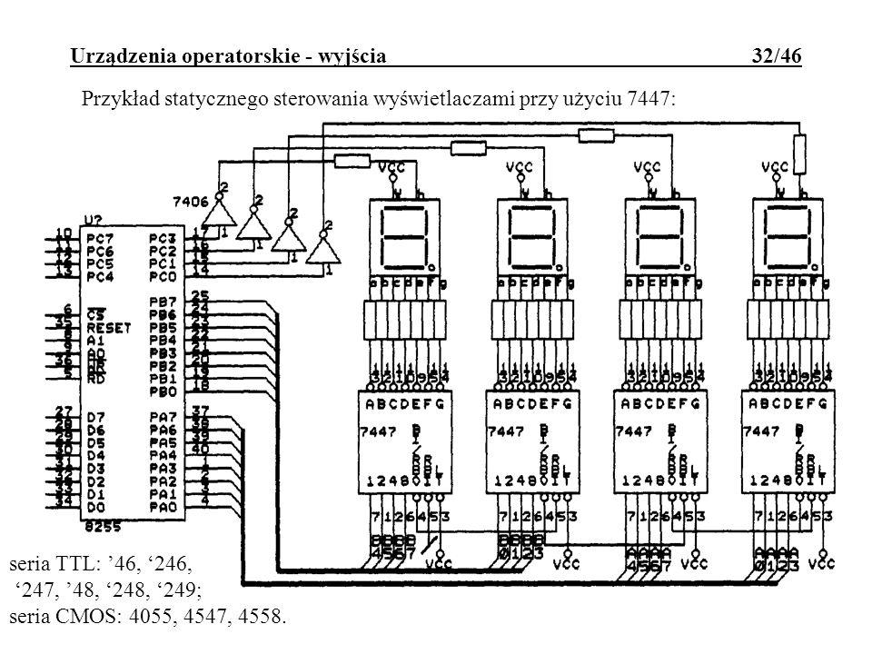 Urządzenia operatorskie - wyjścia 32/46 Przykład statycznego sterowania wyświetlaczami przy użyciu 7447: seria TTL: 46, 246, 247, 48, 248, 249; seria