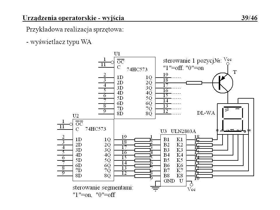 Urządzenia operatorskie - wyjścia 39/46 Przykładowa realizacja sprzętowa: - wyświetlacz typu WA