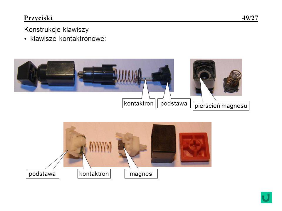 Przyciski 49/27 Konstrukcje klawiszy klawisze kontaktronowe: kontaktron pierścień magnesu kontaktron magnes podstawa