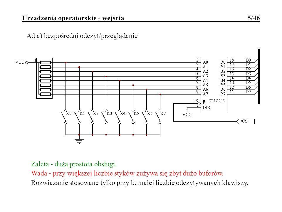 Urządzenia operatorskie - wejścia 5/46 Ad a) bezpośredni odczyt/przeglądanie Zaleta - duża prostota obsługi. Wada - przy większej liczbie styków zużyw