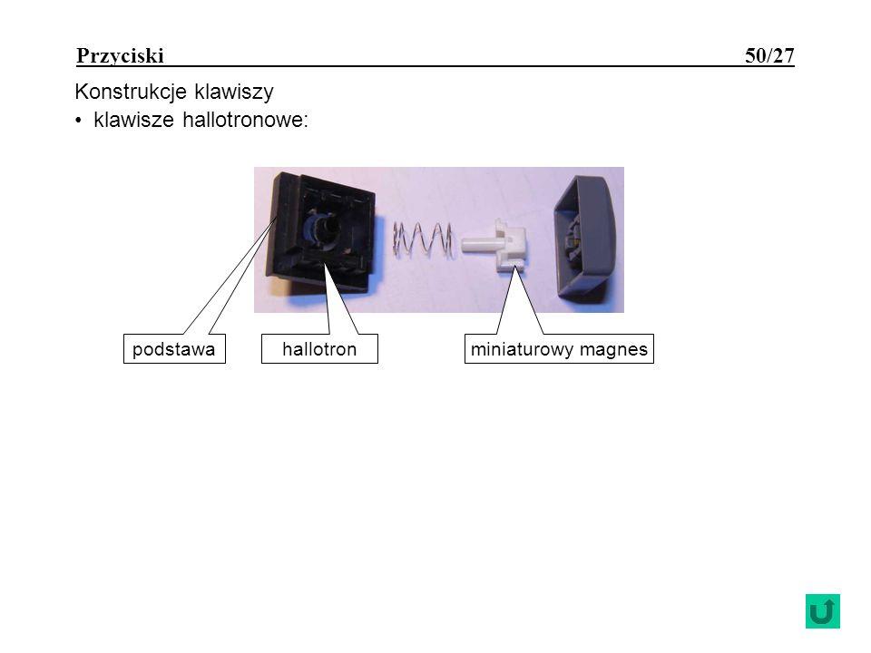 Przyciski 50/27 Konstrukcje klawiszy klawisze hallotronowe: podstawa hallotron miniaturowy magnes