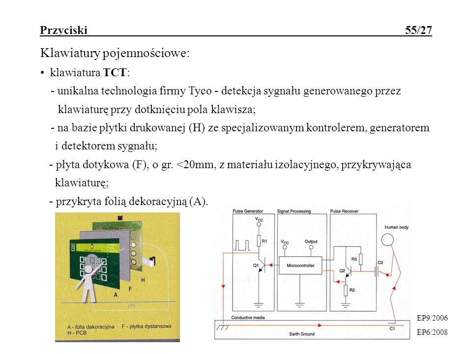 Przyciski 55/27 Klawiatury pojemnościowe: klawiatura TCT: - unikalna technologia firmy Tyco - detekcja sygnału generowanego przez klawiaturę przy dotk