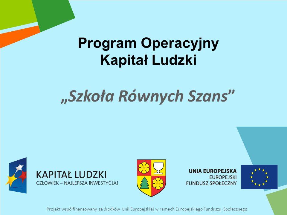 Program Operacyjny Kapitał Ludzki Projekt współfinansowany ze środków Unii Europejskiej w ramach Europejskiego Funduszu Społecznego Szkoła Równych Szans