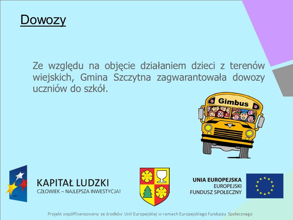 Projekt współfinansowany ze środków Unii Europejskiej w ramach Europejskiego Funduszu Społecznego Dowozy Ze względu na objęcie działaniem dzieci z terenów wiejskich, Gmina Szczytna zagwarantowała dowozy uczniów do szkół.