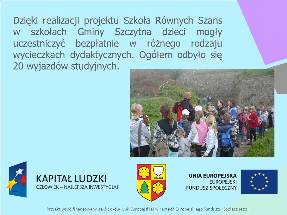 Projekt współfinansowany ze środków Unii Europejskiej w ramach Europejskiego Funduszu Społecznego Dzięki realizacji projektu Szkoła Równych Szans w szkołach Gminy Szczytna dzieci mogły uczestniczyć bezpłatnie w różnego rodzaju wycieczkach dydaktycznych.