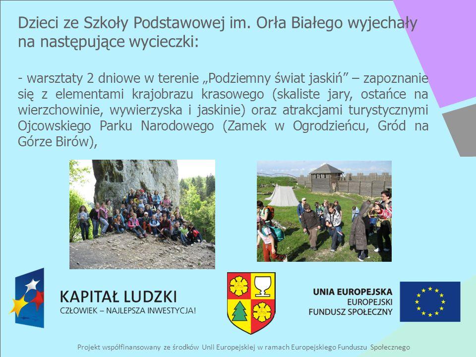 Projekt współfinansowany ze środków Unii Europejskiej w ramach Europejskiego Funduszu Społecznego Dzieci ze Szkoły Podstawowej im. Orła Białego wyjech