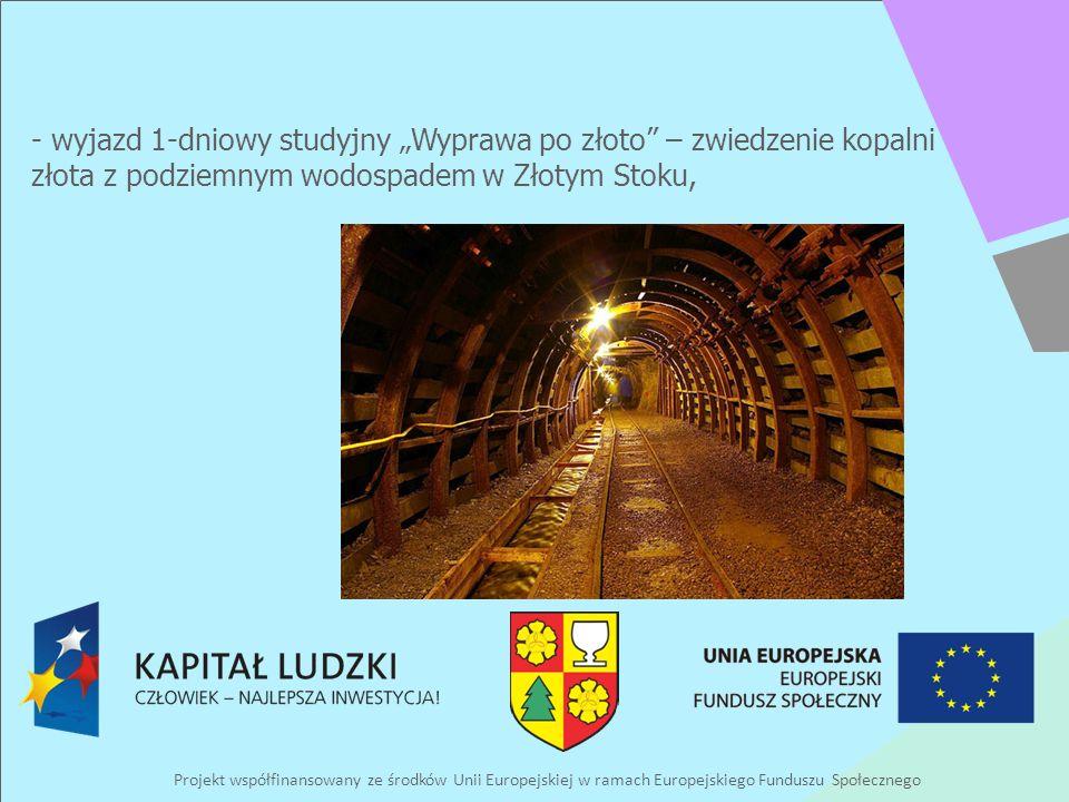 Projekt współfinansowany ze środków Unii Europejskiej w ramach Europejskiego Funduszu Społecznego - wyjazd 1-dniowy studyjny Wyprawa po złoto – zwiedzenie kopalni złota z podziemnym wodospadem w Złotym Stoku,