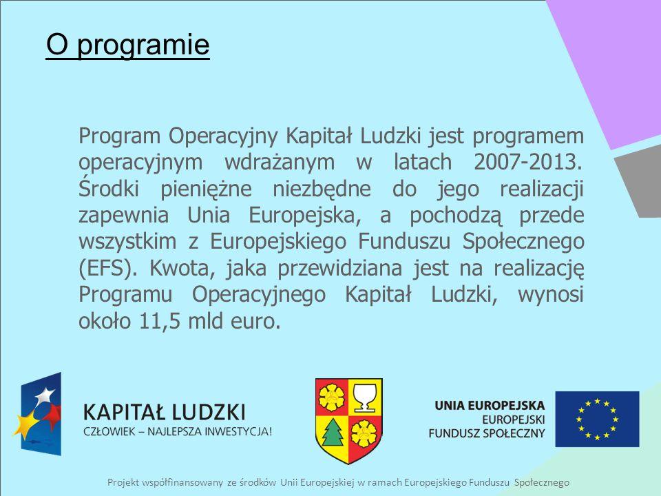 Projekt współfinansowany ze środków Unii Europejskiej w ramach Europejskiego Funduszu Społecznego O programie Program Operacyjny Kapitał Ludzki jest programem operacyjnym wdrażanym w latach 2007-2013.