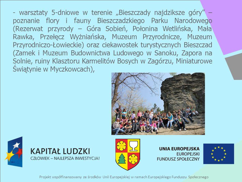 Projekt współfinansowany ze środków Unii Europejskiej w ramach Europejskiego Funduszu Społecznego - warsztaty 5-dniowe w terenie Bieszczady najdziksze