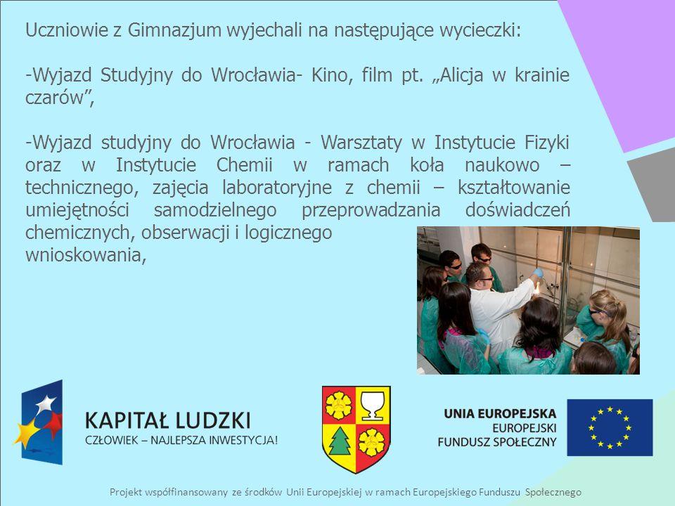 Projekt współfinansowany ze środków Unii Europejskiej w ramach Europejskiego Funduszu Społecznego Uczniowie z Gimnazjum wyjechali na następujące wycieczki: -Wyjazd Studyjny do Wrocławia- Kino, film pt.