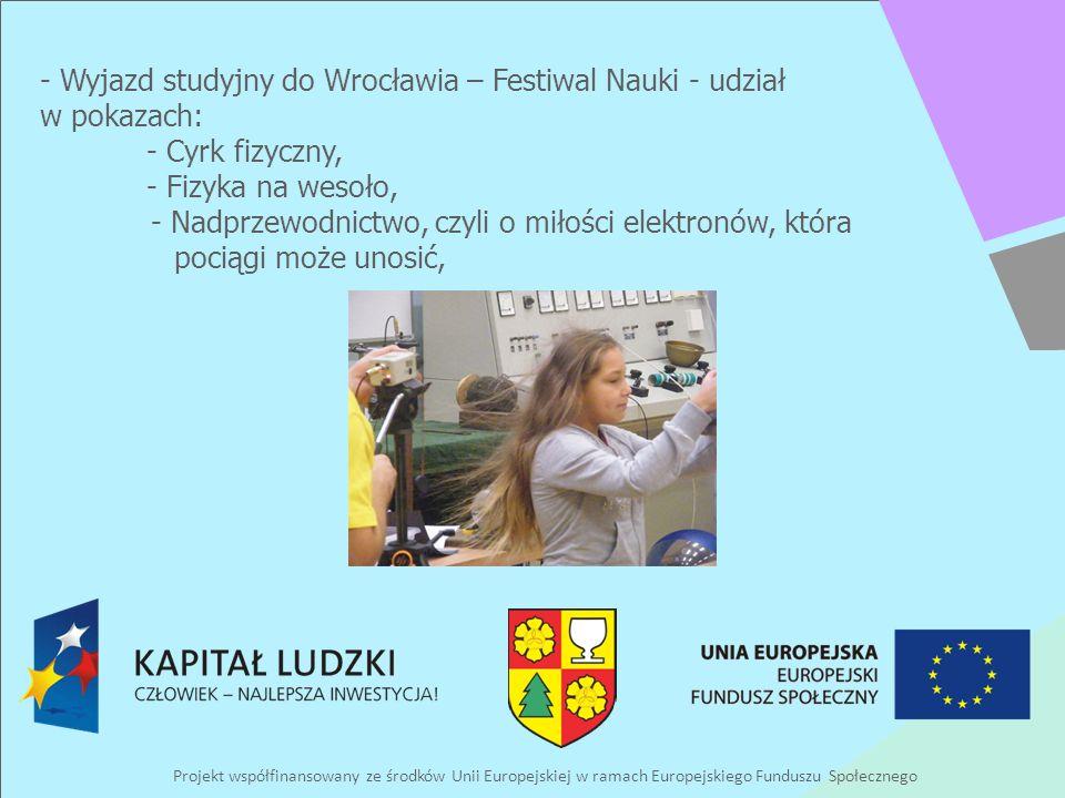 Projekt współfinansowany ze środków Unii Europejskiej w ramach Europejskiego Funduszu Społecznego - Wyjazd studyjny do Wrocławia – Festiwal Nauki - ud