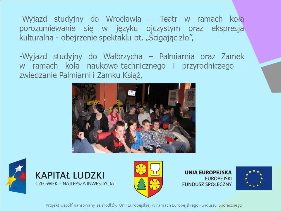 Projekt współfinansowany ze środków Unii Europejskiej w ramach Europejskiego Funduszu Społecznego -Wyjazd studyjny do Wrocławia – Teatr w ramach koła porozumiewanie się w języku ojczystym oraz ekspresja kulturalna - obejrzenie spektaklu pt.