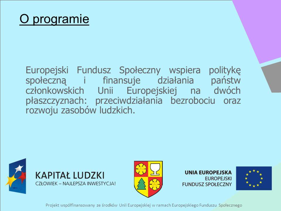 Projekt współfinansowany ze środków Unii Europejskiej w ramach Europejskiego Funduszu Społecznego O programie Europejski Fundusz Społeczny wspiera politykę społeczną i finansuje działania państw członkowskich Unii Europejskiej na dwóch płaszczyznach: przeciwdziałania bezrobociu oraz rozwoju zasobów ludzkich.